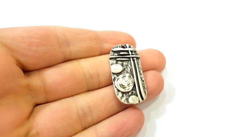 Silver Pendant Antique Silver Plated Pendants (35x18mm)  G7571