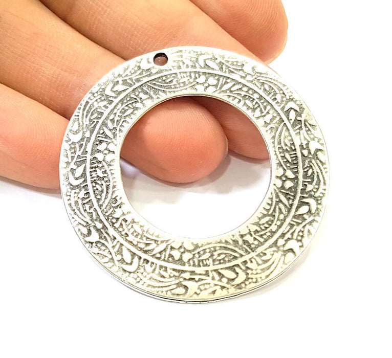 Silver Pendant Antique Silver Plated Pendant (50mm) G7576