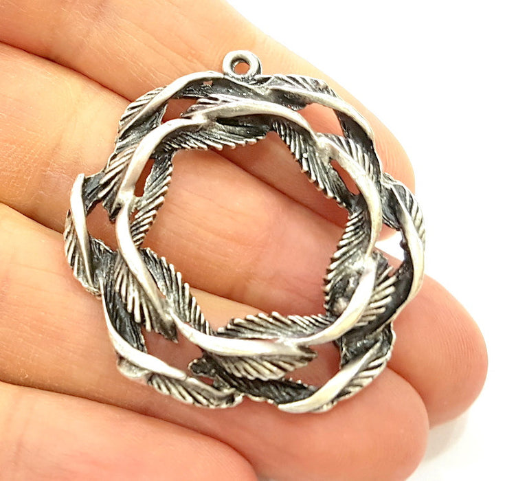 2 Silver Pendant Antique Silver Plated Pendant (39mm) G6980