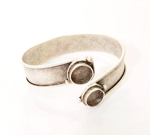 4 Bracelet Blanks Bangle Blanks Cuff Blanks Adjustable Bracelet Blank Antique Silver Plated Brass ( 10mm Blanks ) G7658