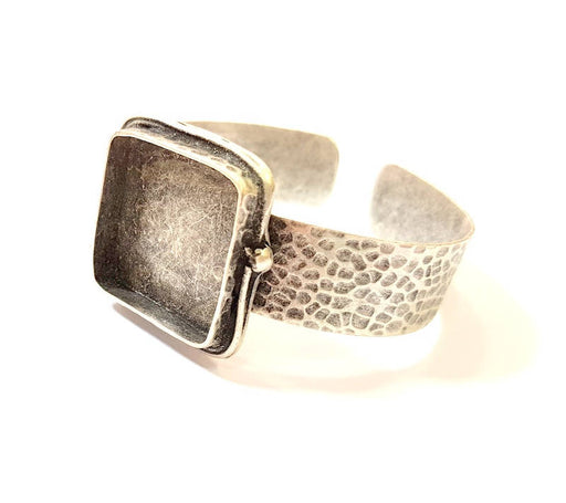 Bracelet Blanks Bangle Blanks Cuff Blanks Adjustable Hammered Bracelet Blank Antique Silver Plated Brass ( 25x25mm Blanks ) G7723