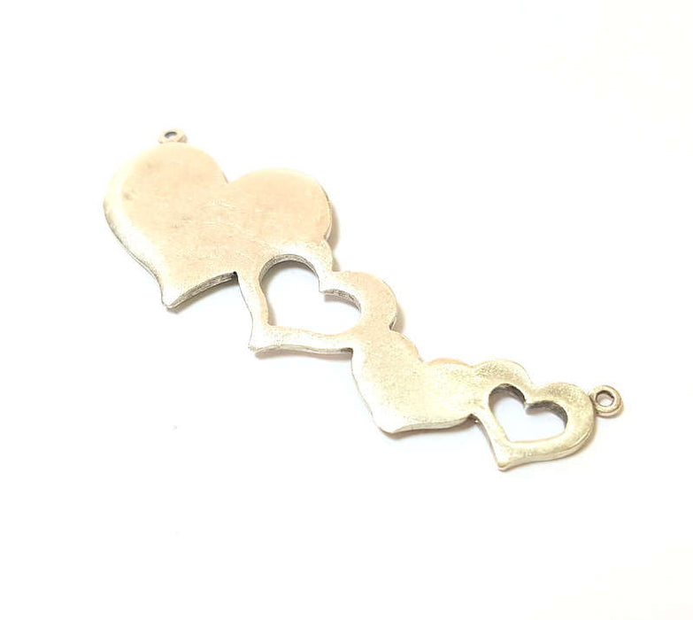 Silver Charms Silver Plated Heart Charms Antique Silver Plated Brass (49x18mm)  G7419