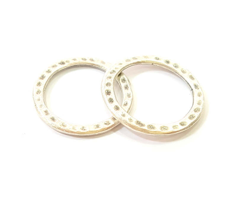 30 Silver Circle Connector Antique Silver Plated Hammered Round Connector (20mm) G9447