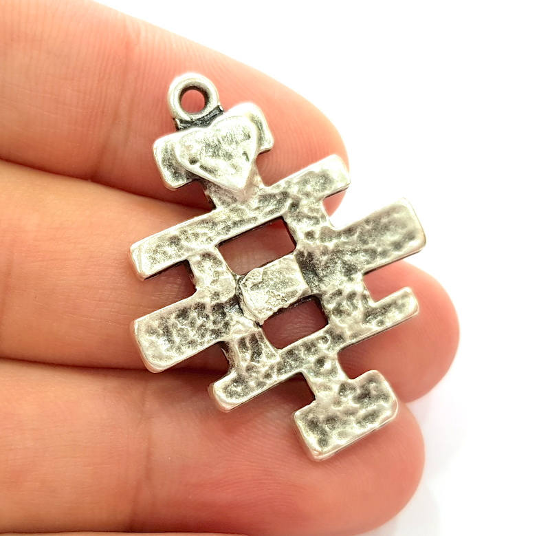 2 Silver Charms Antique Silver Plated Charms (39x32mm)  G8223