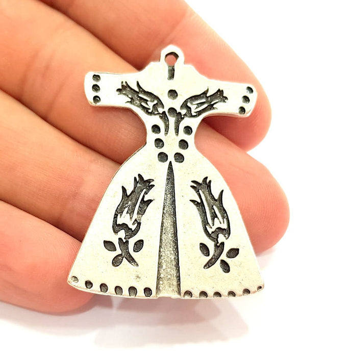 2 Silver Pendant Antique Silver Plated Pendants (46x32mm)  G8140