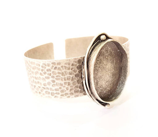 Bracelet Blanks Bangle Blanks Cuff Blanks Adjustable Hammered Bracelet Blank Antique Silver Plated Brass ( 30x22mm Blanks ) G8343