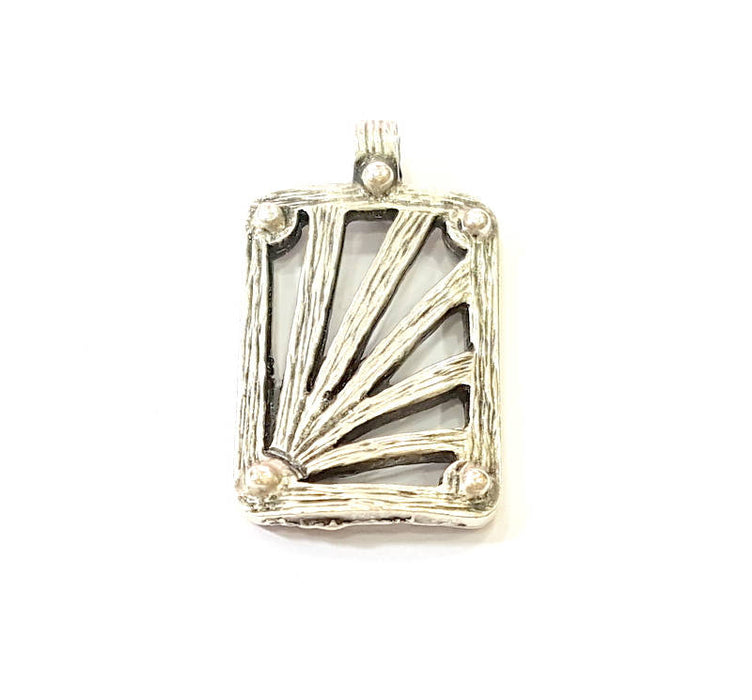 2 Silver Pendant Antique Silver Plated Pendants (36x20mm)  G7858