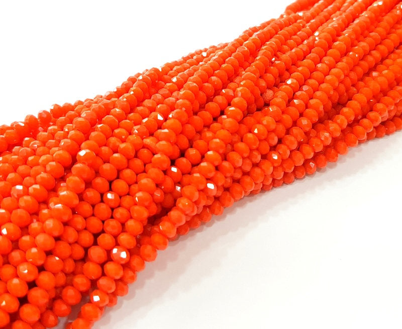Orange Glass Rondelle Faceted Beads  140 Pcs (4x3 mm),  1 strand approx 45 cm ( approx 17,5 inch) G8037