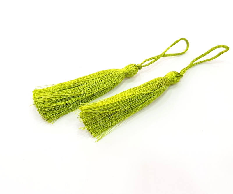 2 Pear Green Tassel (78 mm - 3 inches) G8063
