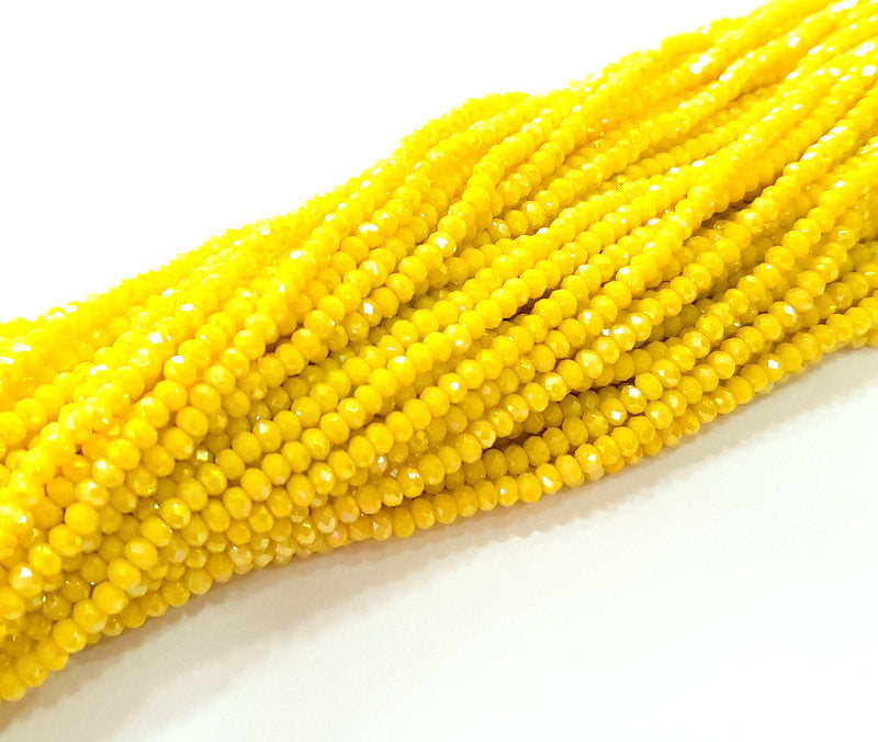 Yellow Rondelle Faceted Glass Beads 2,5x2 mm 1 Strand approx 40 cm ( approx 15 inch-  approx 190 Pcs) G8103