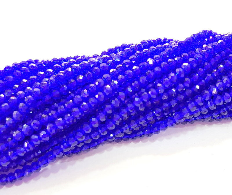 Navy Blue Glass Rondelle Faceted Beads 3 mm 1 Strand approx 38 cm ( approx 14,5 inch- approx 150 Pcs) G8109