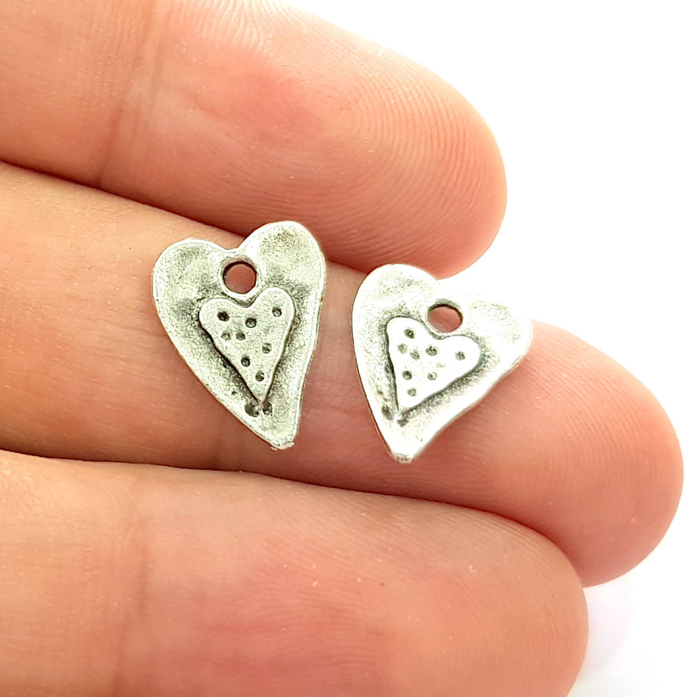 20 Heart Charm Silver Charms Antique Silver Plated Charms (15x11mm) G8533