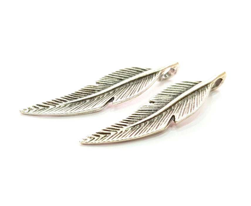 4 Silver Feather Pendant Antique Silver Plated Pendants (44x10mm)  G8426