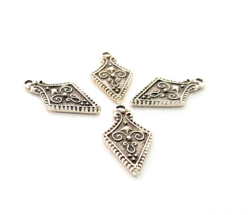 10 Silver Charms Antique Silver Plated Charms (23x12mm) G8495