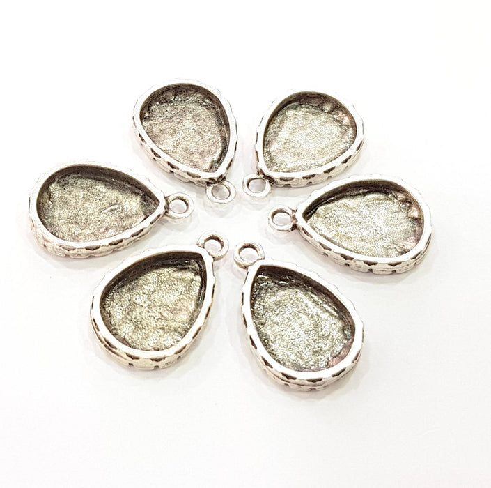 6 Silver Pendant Blank Bezel Base Setting Necklace Blank Resin Blank Mountings Antique Silver Plated  (16x12mm  blank)  G8510