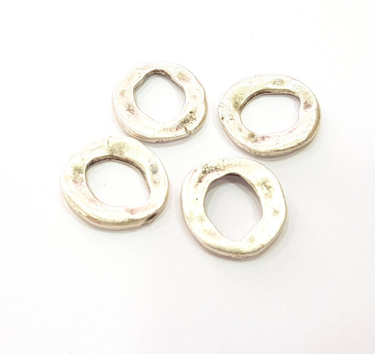 8 Hammered Circle Silver Charms Antique Silver Plated Charms (19mm) G9097