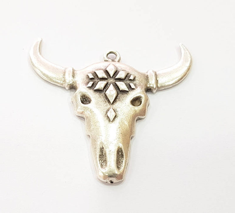 Ox Head Skull Pendant Silver Pendant Antique Silver Plated Pendant (52x50mm) G8652