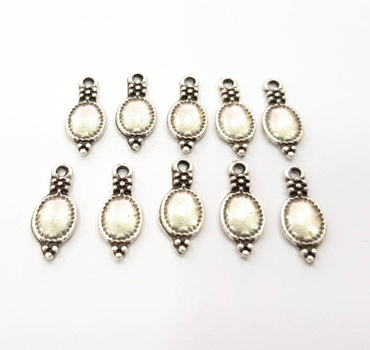 50 Silver Charms Antique Silver Plated Charms (17x7mm) G9626