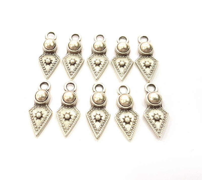 10 Silver Charms Antique Silver Plated Charms (23x9mm) G9802