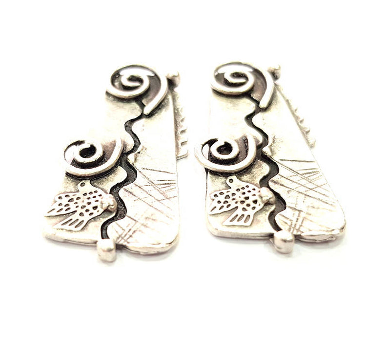 2 Silver Charms Antique Silver Plated Charms (46x20mm) G9910