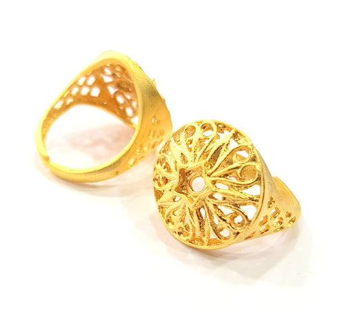 Gold Ring Blank Ring Settings Ring Bezel Base Cabochon Mountings Adjustable  (3mm blank ) Gold Plated Brass G10249
