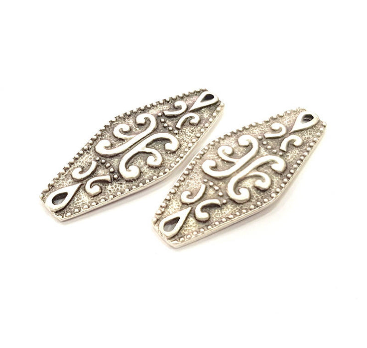 4 Silver Patterned Connector Charms Antique Silver Plated Charms (38x15mm) G14385