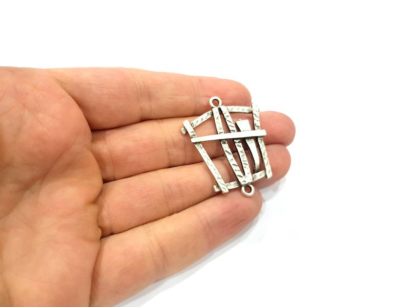 2 Silver Charms Antique Silver Plated Connector (40x32mm) G9497