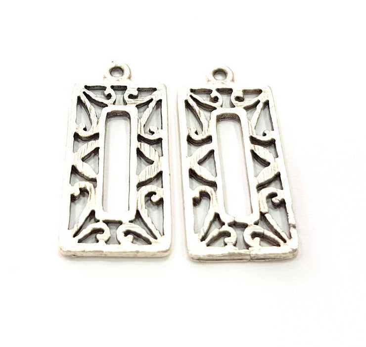 4 Rectangle Frame Charm Silver Charms Antique Silver Plated Metal (30x14mm) G11417