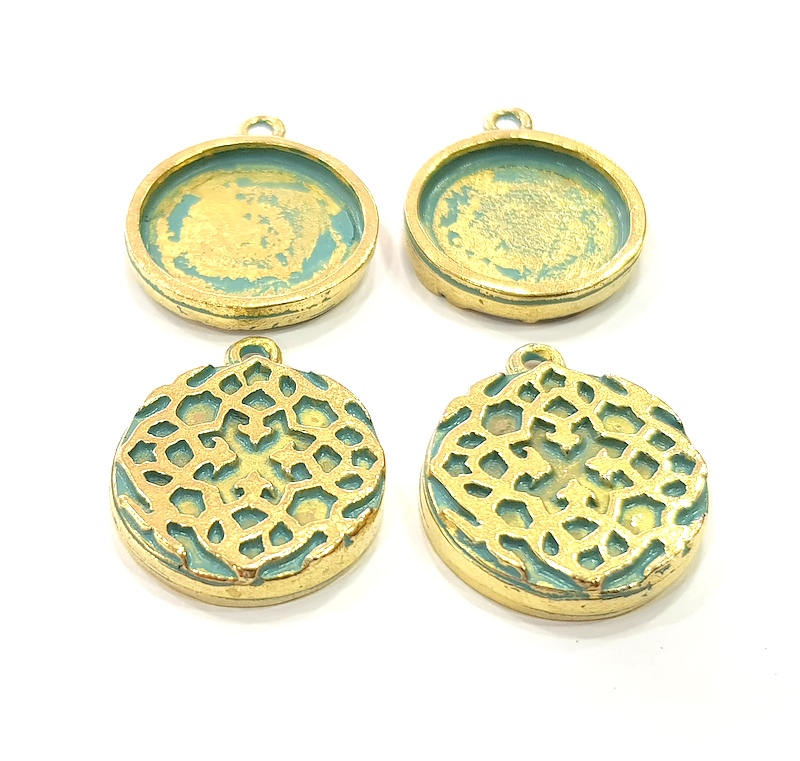 4 Blue Patina Pendant Blank inlay Base Necklace Blank Resin Mountings Faux Patina over Antique Bronze Tone 20x20 mm square blank G11550