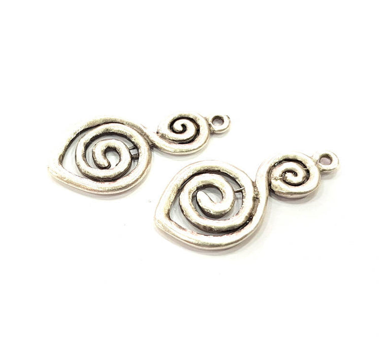 5 Silver Charms Antique Silver Plated Connector (30x15mm) G9658