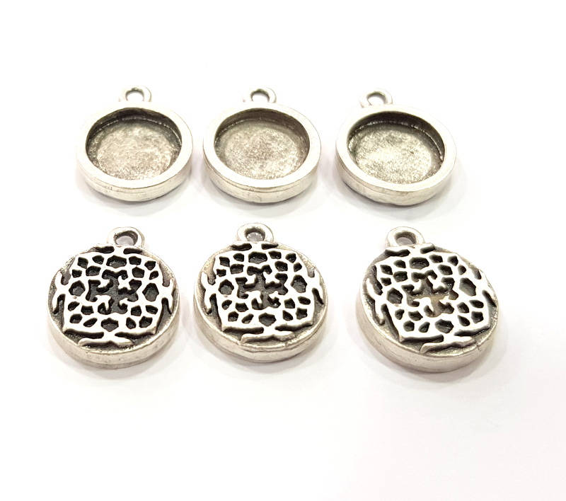 6 Silver Pendant Blank Bezel Base Setting inlay Blank Earring Base Resin Blank Mountings Antique Silver Plated (12mm round blank)  G11637