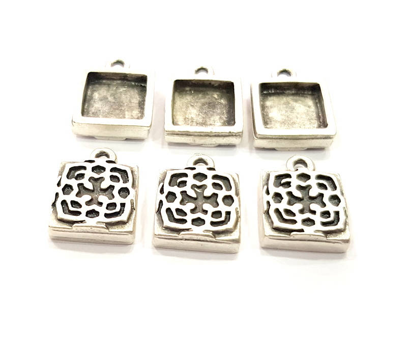 6 Silver Pendant Blank Bezel Base Setting inlay Blank Earring Base Resin Blank Mountings Antique Silver Plated (10mm square blank)  G11638
