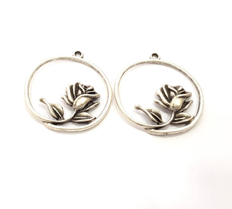 2 Rose Charm Flower Charm Silver Charms Antique Silver Plated Charms (32mm) G9980