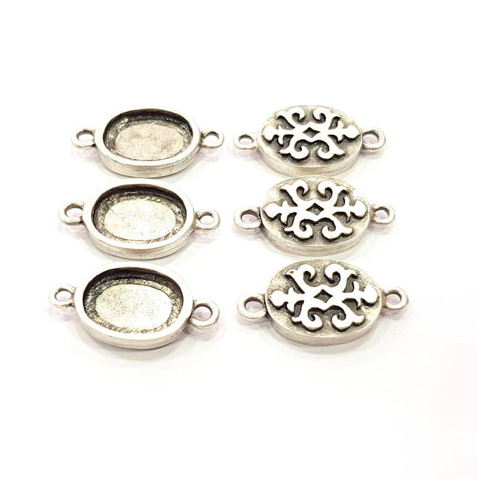 6 Silver Connector Pendant Blank Bezel Base Setting inlay Blank Earring Base Resin Mountings Antique Silver Plated (14x10 mm blank)  G11972