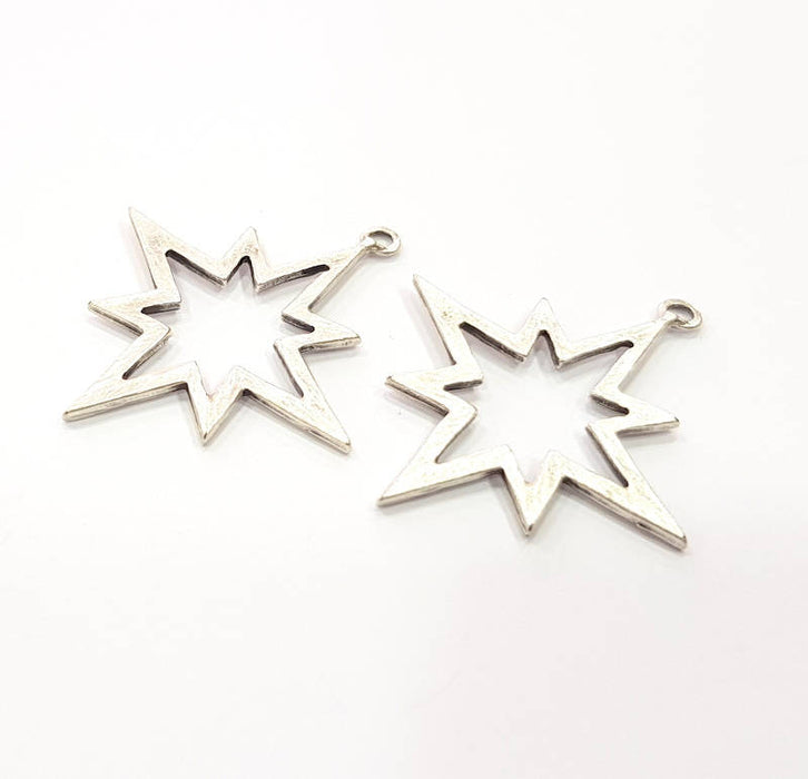 6 Star Charms Antique Silver Plated Charms (37x34mm) G10312