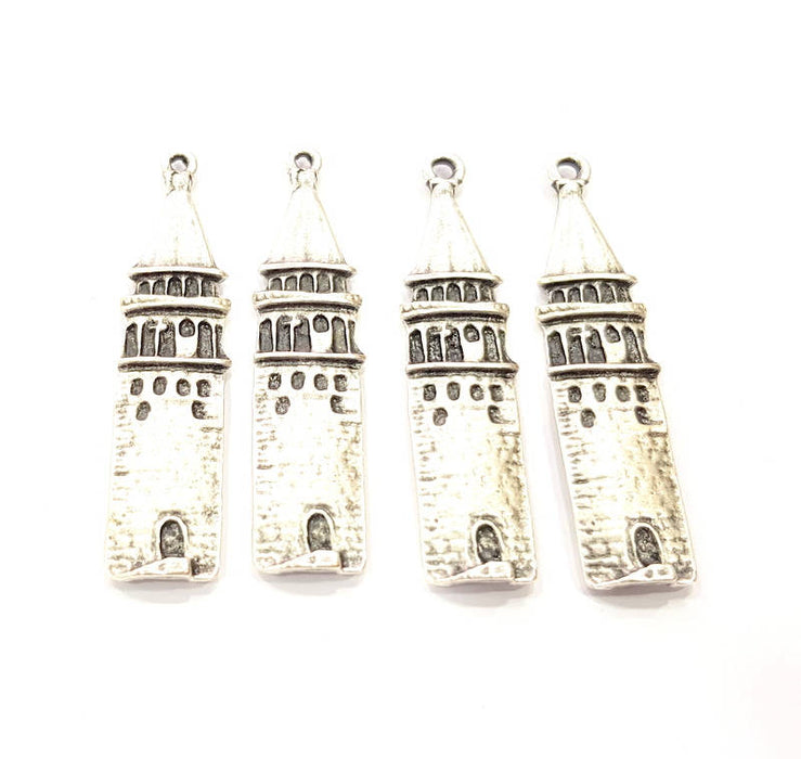 2 Galata Tower Charms Antique Silver Plated Charms (50x10mm) G10331