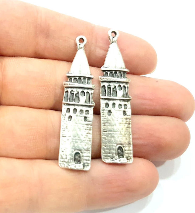 4 Galata Tower Charms Antique Silver Plated Charms (50x10mm) G10331