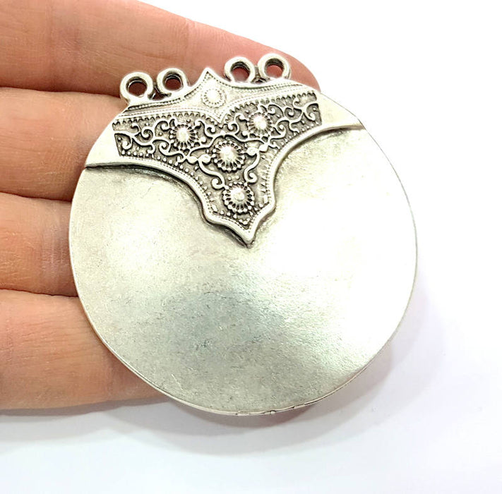 Large Round Pendant Silver Pendant Antique Silver Plated Metal (58mm) G9438