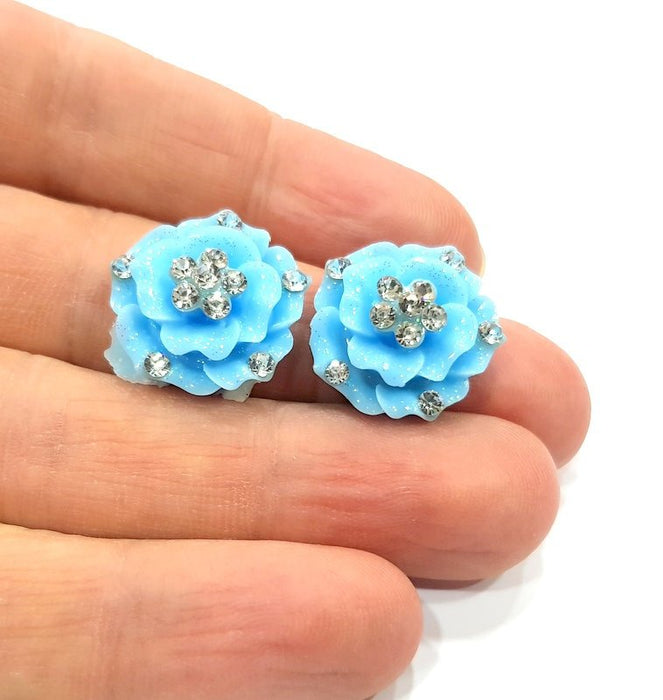 2 Blue Flower Cameo Cabochon 20mm  G12249