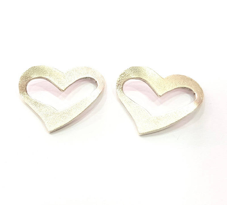 6 Heart Charm Connector Silver Charms Antique Silver Plated Metal (25x20mm) G11382