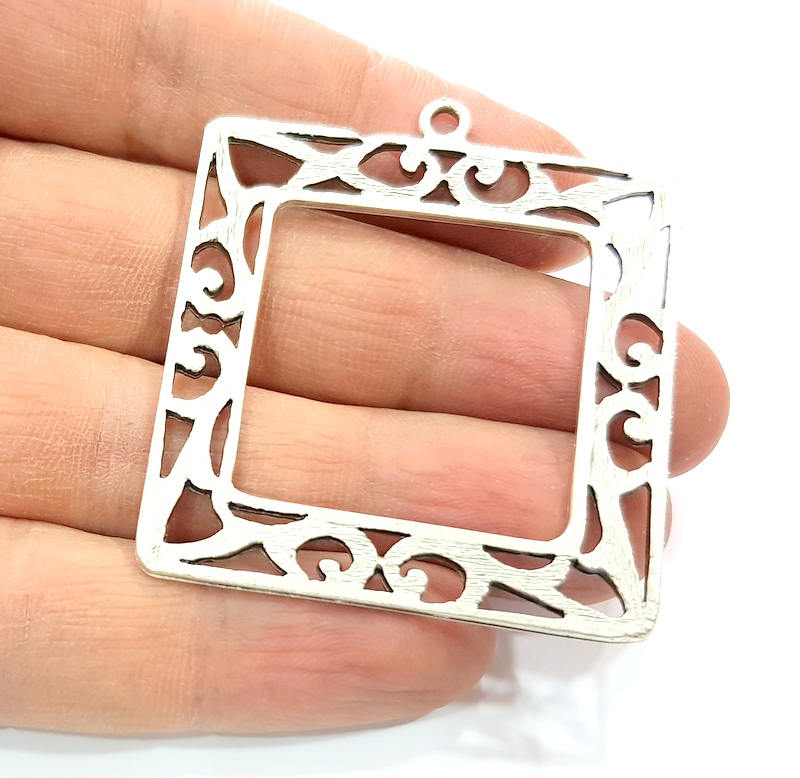 Square Frame Pendant Silver Pendant Antique Silver Plated Metal (46mm) G11412