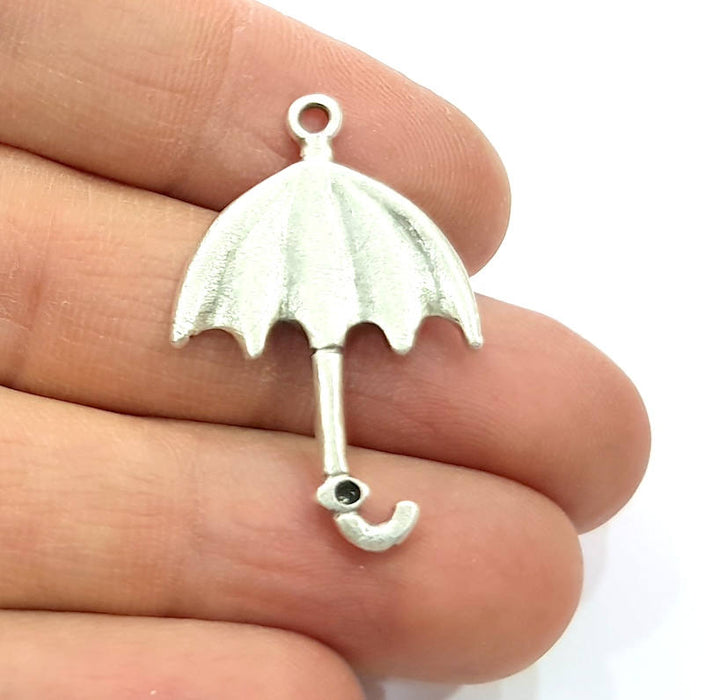 4 Umbrella Charm Silver Charms Antique Silver Plated Metal (35x22mm) G11426