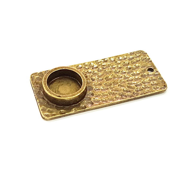 2 Antique Bronze Pendant Blank inlay Blank Mosaic Blank Resin Blank Bezel Base Setting Mountings Antique Bronze Plated (10mm blank) G11738