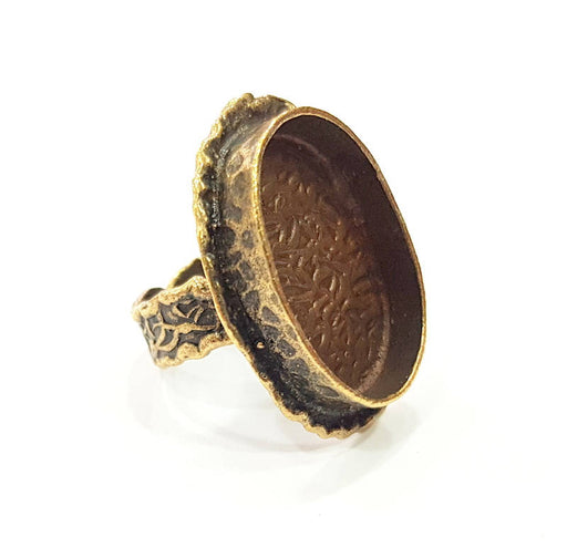 Antique Bronze Ring Blank Ring Setting inlay Blank Mosaic Bezel Base Cabochon Mountings ( 24x17 mm blank) Antique Bronze Plated Brass G11938