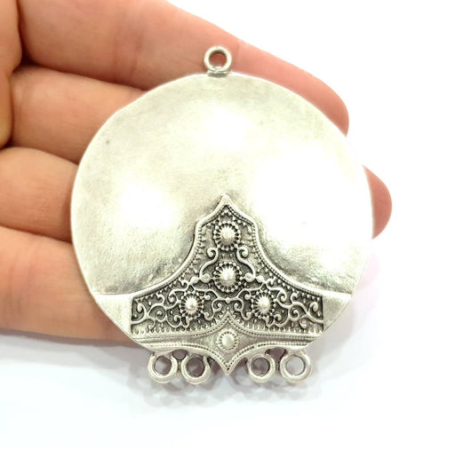 Silver Pendant Antique Silver Plated Metal (57mm) G11985