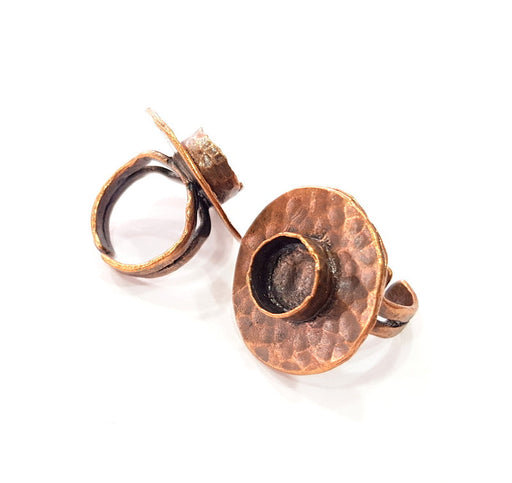 Copper Ring Settings inlay Ring Blank Mosaic Ring Bezel Base Cabochon Mountings ( 10 mm blank) Antique Copper Plated Brass G13497