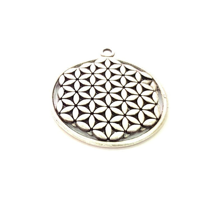 2 Silver Mandala Pendant Antique Silver Plated Metal (33mm) G14063