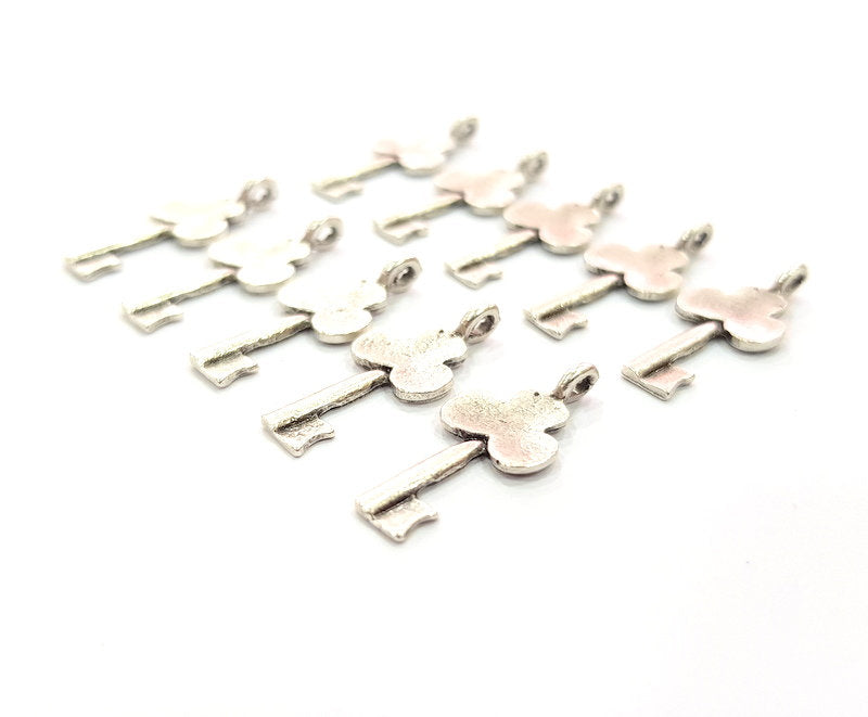 20 Key Charm Antique Silver Plated Metal (22x10mm) G12309