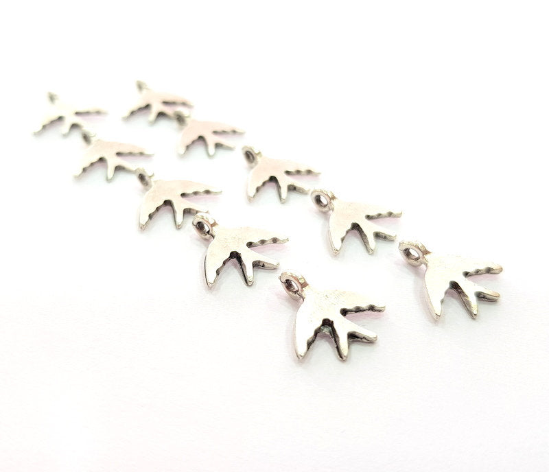 10 Swallow Charm Silver Charms Antique Silver Plated Metal (15x14mm) G14433