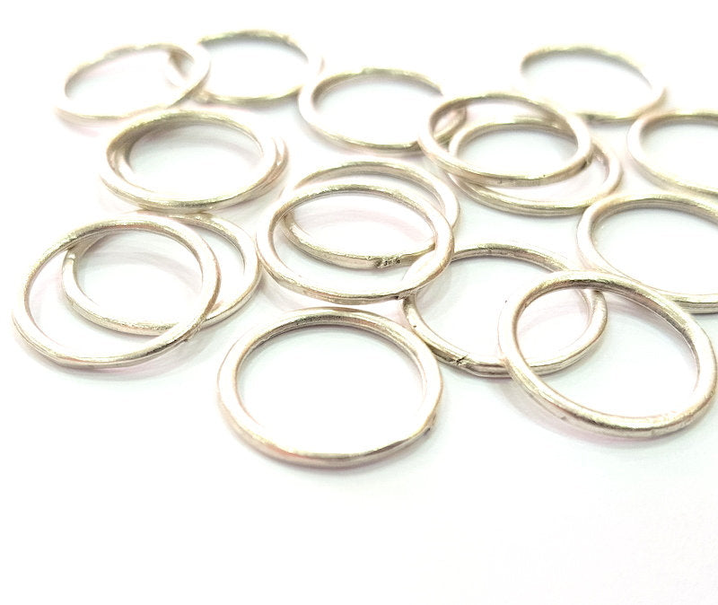 50 Silver Circle Connector Charms Antique Silver Plated Charms (16mm) G12338